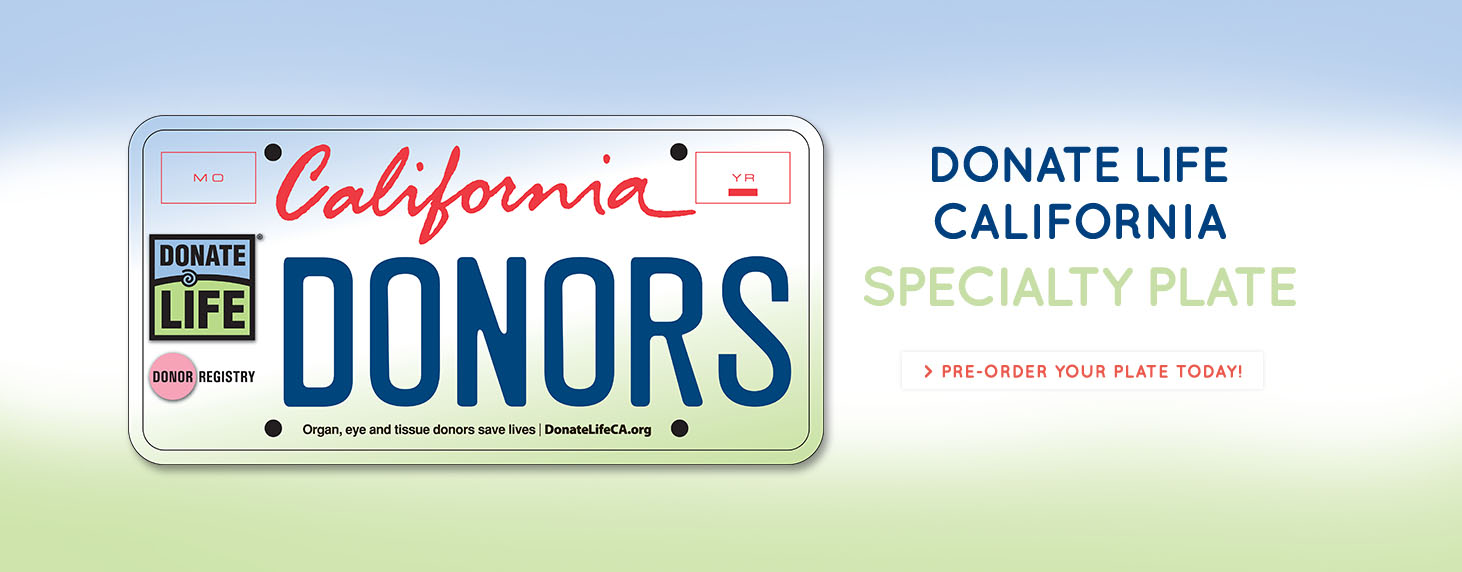 Donate Life California License Plate