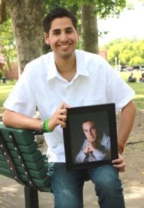 1505 Alfonso Garcia DLA and liver transplant recipient with picture of his donor, George Becker