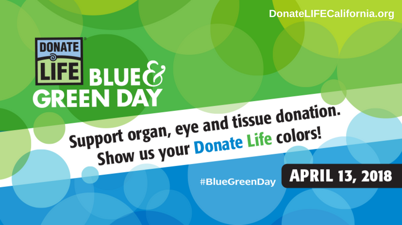 Blue and Green Day, Donate Life California